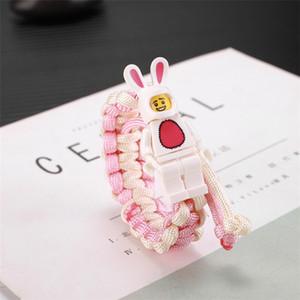 17 stili di carattere bracciali braccialetto edificio blocco tessere cartone animato tessute amano studenti scherza il regalo braccialetto a buon mercato all'ingrosso EJY841