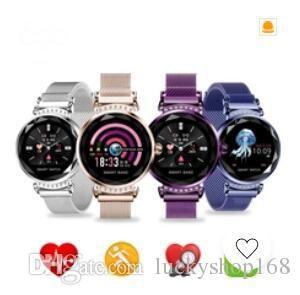 H2 Luxury Smart Watch Mujeres Impermeables de moda para mujer Pulseras inteligentes Ritmo cardíaco Rastreador de ejercicios para Android IOS Phone GIFT H1 5pcs