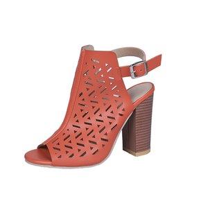 ارتفاع الكعب جديد مثير النساء الصنادل الأسود تجويف عالية الكعب الأحذية قصير النساء الصنادل حقيقية الأحذية الجلدية المرأة الصيف D275