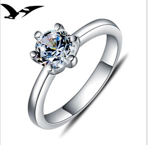 925 sterling silver ring; Female Korean version simple zircon simulation ring girls ring; Couple wedding ornaments