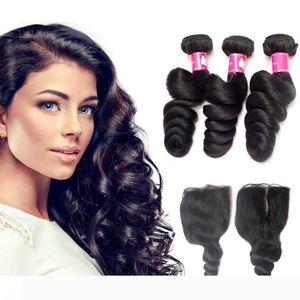7A Virgin Brazilian loose wave bundles with closoure Unprocessed Peruvian loose wave 1B Black loose wave hair with closure
