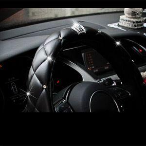 dropshipping 38cm de luxe Crystal Crown strass cloutés couvert en cuir PU voiture Volant Couverture Les gouvernails Couvre OE88