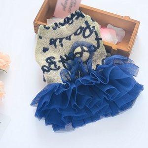 Belle dentelle Mesh Dogs Lettre Sweater Dress Rosy Pet Dress jupe robes de mariage pour chiens