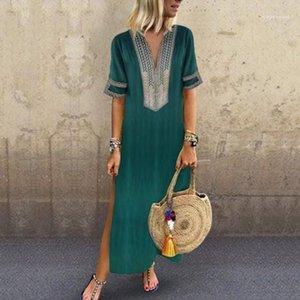 Sexy Longueur sol Vêtements Femmes été Soild couleur Robes chemise col en V manches Mode Vêtements décontractés