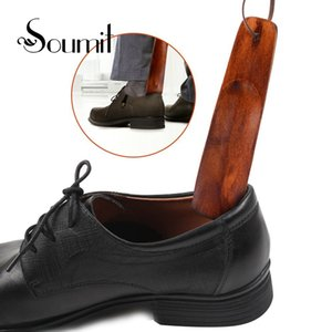 Soumit 2 Pcs Wood Shoe Horn Craft Birch Wooden 15.5cm Short Handle Shoehorn Lifter with Leather Rope for Shoes Accessories Horns