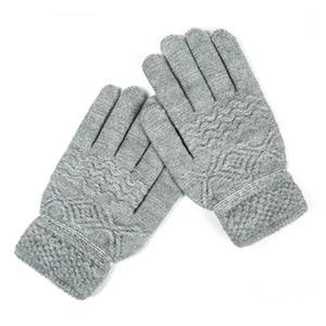 Fashion-SuperB&G Winter Gloves Women Men Classical Thicken Warm Gloves Unisex Knitting Mittens Solid 6 Colors Plus Velvet