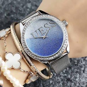 Бренд кварцевые наручные часы для женщин Девушка с кристальным стилем циферблат металлический стальной ремешок часы GS18