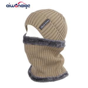 2019 moda çizgili erkek kışlık şapka atkı seti erkekler ve kadınlar sıcak örme şapka eşarp 2 adet set artı kadife harfler erkek bezelye