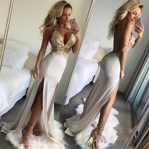 Best selling sexy deep V sling split evening dress slim dress