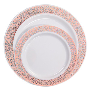 25pcs Pack Disposable Plastic Plates-Premium Heavy Duty Wedding Party Fancy Salad Dessert Plates Rose Gold Dinnerware Plates