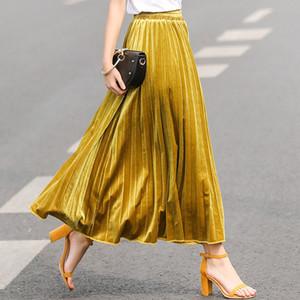 İlkbahar sonbahar 2019 yeni orta boy elbise toptan Avrupa Birleşik Devletleri yüksek zarif etek pilili etekler belli