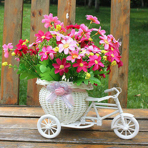 Plástico branco Triciclo Flower Design Cesta moto estilo de armazenamento partido Container Ornamento crianças presente