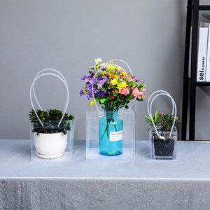 Transparent Shopping Bags With Handles Mini Portable PVC Gift Tote Bag Plant Flower Contatiner Package Waterproof Clear Plastic Handbag