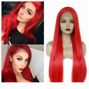 Metà mano legata Red Lace Front wigs termoresistente Cosplay Celebrity Girl Wedding Party Synthetic Lace Front wigs per le donne