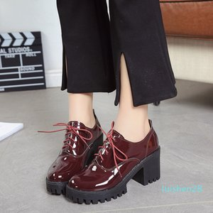 Hot Sale-Women Platform High Heels Oxfords PU Leather 7.5cm Height Square Heel Basic Shoes Solid Color Lace-Up Shoes l28