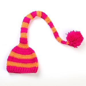Bebê Handmade Knit chapéu de Santa menina Crochet Xmas Caps Menino do Natal Pompom Hats Infant Long Tail Stripe Gorros Cap TTA2139-2