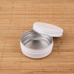 50pcs / Lot 30g de aluminio Crema facial frasco vacío Botella Cosmético White Cap Pequeño portátil piel Cuidado de caramelo Pot