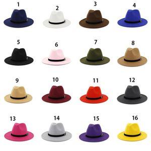 16 Kappe Fedora Hut Panama Krempe Wolle Wolle Frauen Wide Filz Outdoor Jazz Casual Colors Lady Pewgj