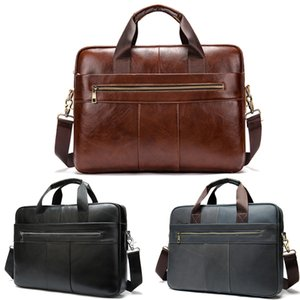 Shoulder Cc 14inch Business Men's Bag Messenger Leather Handbag Simple Retro Multifunctional Office Briefcase Portable Laptop Laxjw