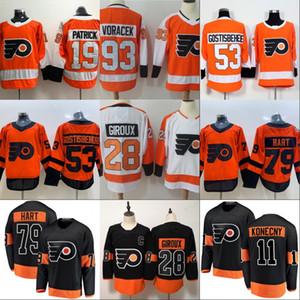Mens 79 Carter Hart Philadelphia Flyers 11 Travis Konecny 14 Sean Couturier 19 Nolan Patrick 28 Claude Giroux 93 Jakub Voracek Maglia da hockey