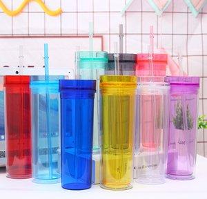 16 온스 마른 아크릴 텀블러 16 온스 마시는 컵 뚜껑과 밀짚 480ml 이중 벽 투명 플라스틱 컵 BPA 무료 스트레이트 물병