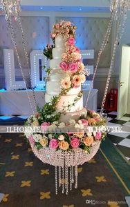 Diâmetro 40CM / 45CM / 60CM Bolo luxuoso do Hanging bolo de casamento rack stand transparente cristal esferas de acrílico principal decoração de mesa