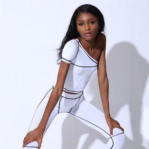 Été Femmes une épaule Survêtements Skinny rayée ligne imprimée dames Pantalons actifs Solid Slim femmes Sets 2pcs