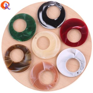 wholesale New Fashion 48MM 50Pcs Lot Hallow Out Large Round Accessories Acrylic Marble Effect Bead For Jewelry Making