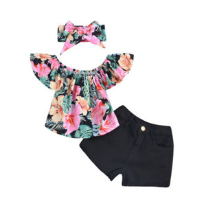 2019 New HOT SALE Toddler Kid Girl vestiti floreali Top T-shirt in denim Shorts fascia Set di abiti