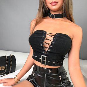 2020 Bandage Preto Tubo Top Bandeau Harajuku Strapless Top Curto Mulheres oco Out Sexy Boob Enrole Top Bra Bralette