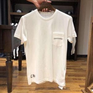 인기 로고 CHROWE 심장 말굽 크로스 산스크리트어 시리즈 코튼 티셔츠 짧은 소매 거리 스타일 남성과 여성