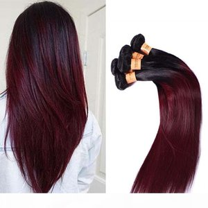 Brazilian Ombre Straight Hair 4 Bundles Colored 1B 99J Burgundy Brazilian Virgin Human Hair Weave Cheap Ombre Red Wine Hair Extensions
