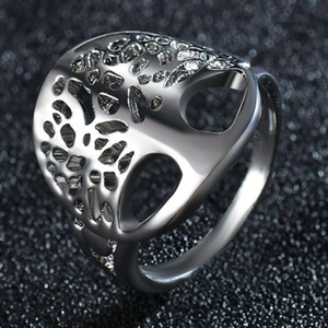 Wisdom Tree Maske Solid Color-Finger-Ring-Runde Baum des Lebens Ring klassische Schmucksachen Art und Weise Silber überzogener Ring für Frauen-Mann-Geschenk-Größe 6 7 8 9