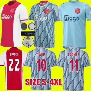 TAILLE S-4XL 20 21 Ajax FC Accueil Soccer Jerseys 2020 2021 VAN DE BEEK Ajax Chemises loin des uniformes de football TADIC PROMES ZIYECH