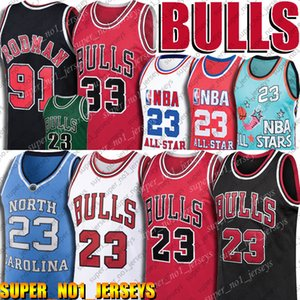 Touro 23 Michael Jersey MJ 91 Dennis Rodman Jersey 33 Scottie Pippen Jerseys Rookie Sonho Carolina equipe norte-Tar Heels Basketball Jerseys