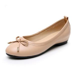 2019 New Autumn Fashion Elegant Bow Genuine Leather Shoe Woman Shoes Flat Shoes Inside Increased Plus Size Fashion Casual Shoes