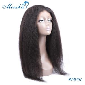 Moxika Şeffaf HD Dantel Peruk Moğol Kinky Düz Wig13x6% 150 Yoğunluk Yaki İnsan Saç Dantel Açık Peruk Öncesi yiğitlik Remy
