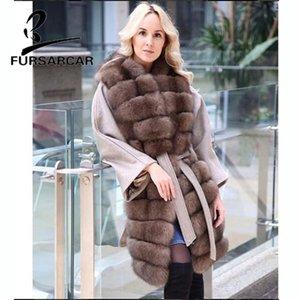 FURSARCAR New Style réel manteau de fourrure femmes avec manches longues épaisse fourrure d'hiver peau laine veste chaude Top Coat Qualité 2019