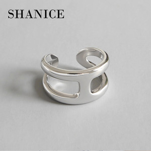 SHANICE 925 Silver Cross Ring Anillos Jewelry Vintage INS Simple Letter H Girlfriend Gift Cincin Haut Femme Rings for Women