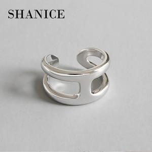 SHANICE 925 Silber Kreuz Ring Anillos Schmuck Vintage INS Einfache Brief H Freundin Geschenk Cincin Haut Femme Ringe für Frauen