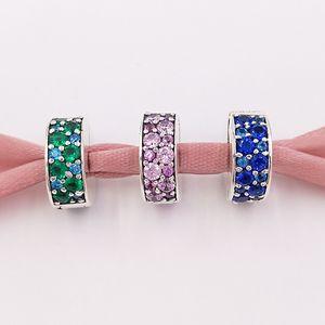 Autentico 925 argento sterling perline perline viola mosaico brillante eleganza distanziatore clip clip charms si adatta ai braccialetti di gioielli in stile Pandora europeo colla