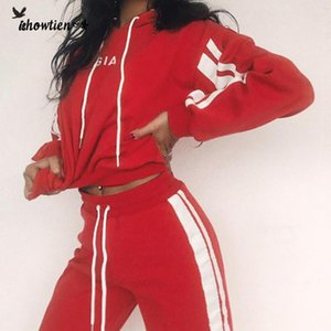 kadınlar ekin üst pantolon kapüşonlu tracksutis Kadınlar Kostüm Spor Suit 2 adet Set Uzun Kollu Üst + Pant Eşofman # 0618