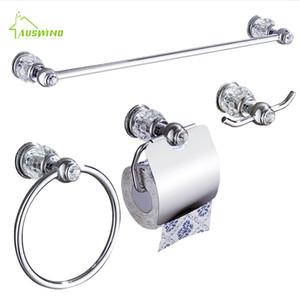 Bir Set içine Krom Kristal Pirinç Banyo Donanım Seti 4 adet (havlu Raf / Havluluk / Kağıt Tutucu / Kanca)