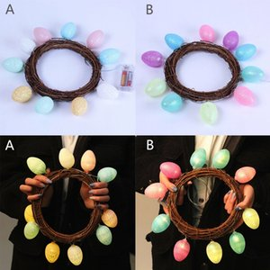 Decorative Easter Egg LED String Lights Rattan Wreath Garland Lamp Indoor Outdoor Easter Party Atmosphere Decoration Wreath