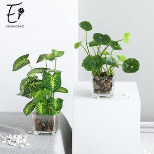 Erxiaobao Künstliche Pflanzen mit Glaskanne Simulation Bonsai Topf Platziert Grün vierblättriges Kleeblatt Heim Tabelle Windows-Dekoration