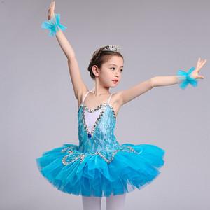 sky blue professional ballet tutu for girls kids sequin ballet tutu child dance costume for girls