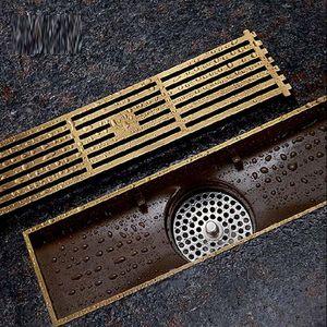 العتيقة النحاس مربع الطابق استنزاف الحمام الخطي دش الطابق الأوروبي استنزاف سلك مصفاة الفن منحوتة غطاء النفايات تجفيف g50