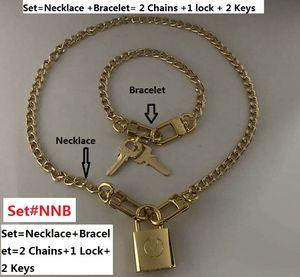 2019 blocco, su misura Set # NNB, 1 set = Necklace + Bracelet. Deposito lucchetto catena