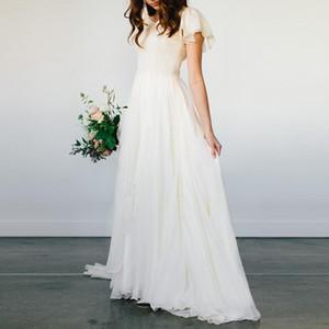Flowy 쉬폰 비치 웨딩 드레스 2020 반팔 사원 신부 드레스 긴 비공식 리셉션 드레스 사용자 지정 크기