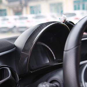 Fibra de carbono Car Center Console Dashboard Cover Painel de Instrumentos Painel de Guarnição para Smart fortwo forfour 2015 2016 2017